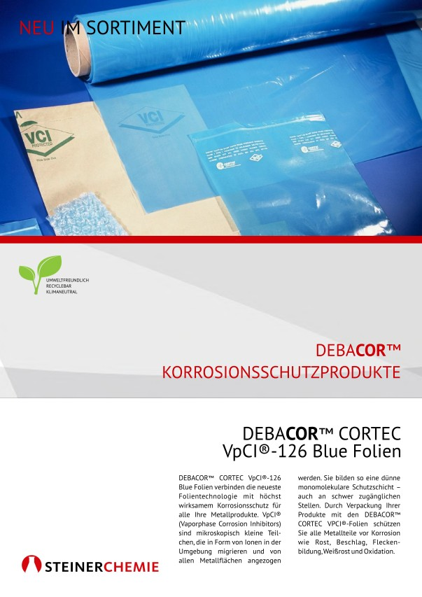 Flyer: DEBACOR CORTEC VpCI-126 Blue Folien
