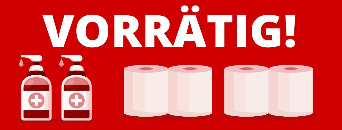 Desinfektionsmittel und Toilettenpapier vorrätig
